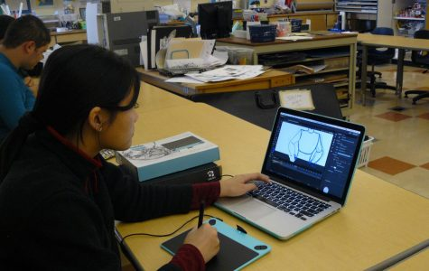 One of the members in the Animation Club working on one of her projects.