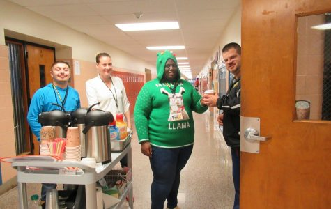 Jonah, Ahmed, and Mrs. Mengak are delivering Mr. Viola his cup of coffee from the Brew cart.