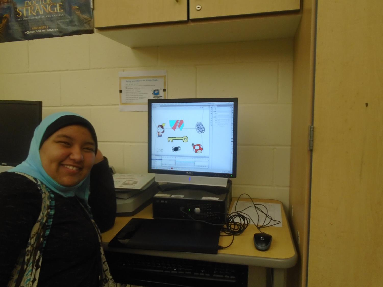Sophomore Mariam Abdelsayed works on her animation project.