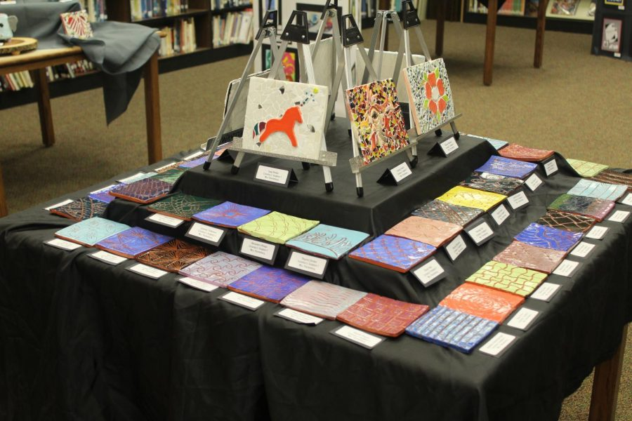 Ceramic exhibit, featuring glass mosaics and glazed tile pieces (2)