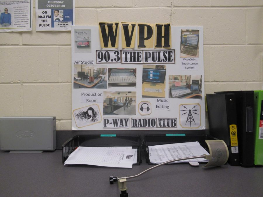 A poster in the recording room that shows the different sections the radio club offers
