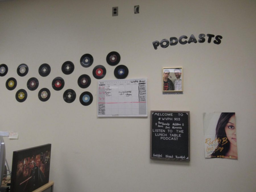 A full view of the wall within the WVPH recording area