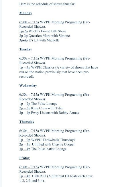 A schedule of the shows featured at the radio club during the week (Mondays through Fridays)