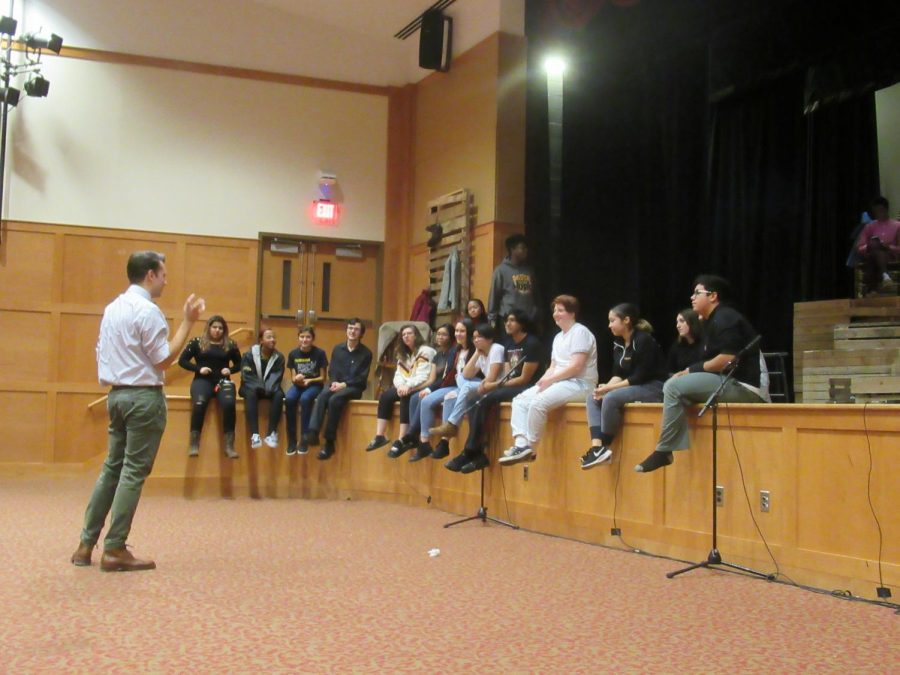 Mr. Yosens group of Thespians meet before the show to discuss future opportunities. Photo Credit: Brooke Singson
