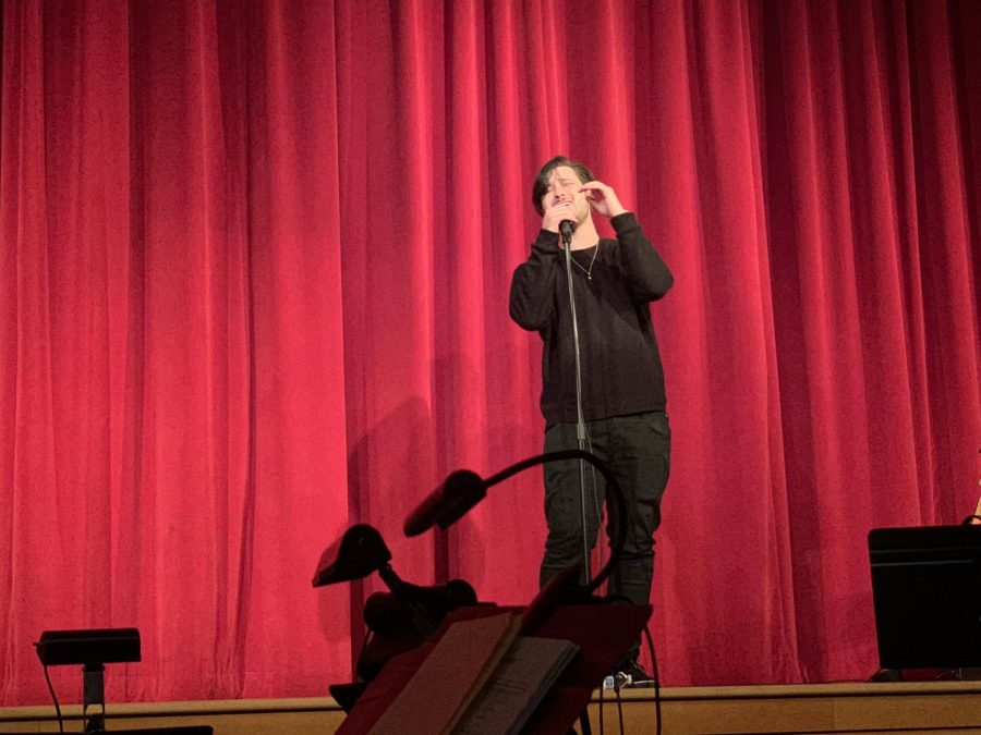 Singer Hariz performing  for PHS students.